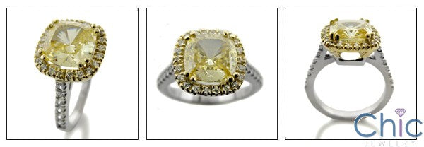 3.5 Canary Cushion Cut Cubic Zirconia in Halo Pave Two Tone 14K Gold Engagement Ring