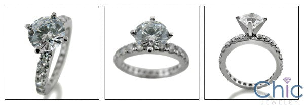 Engagement 1 Ct Round Center 1 Eternity Cubic Zirconia Cz Ring