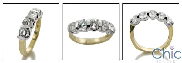 Anniversary Two Tone Channel 5 Round Stone Cubic Zirconia Cz Ring