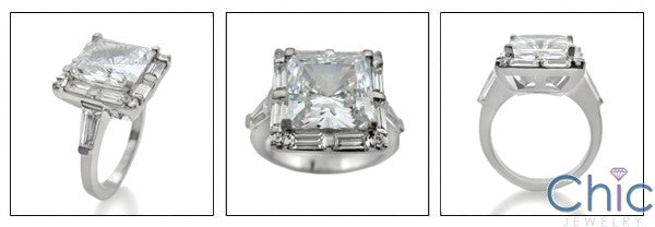 Anniversary Princess 3 Ct Center Channeled Baguettes Cubic Zirconia Cz Ring