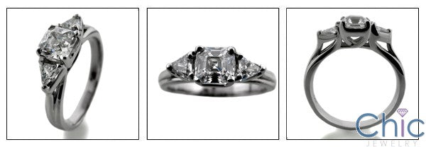 3 Stone 0.75 Royal Asscher Triangle Cubic Zirconia Cz Ring