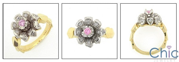 Fine Jewelry Flower Top Pink Center two Tone Gold Cubic Zirconia Ring