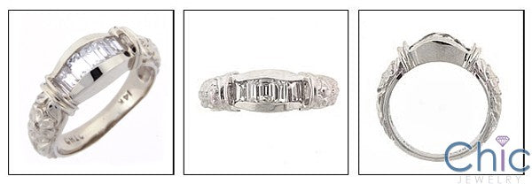 Anniversary .35 Ct Baguettes in Channel Cubic Zirconia Cz Ring
