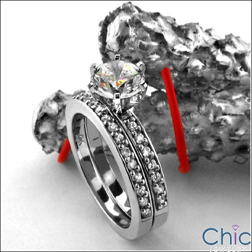 Wedding .18 TCW Pave Narrow Shank Cubic Zirconia CZ Band
