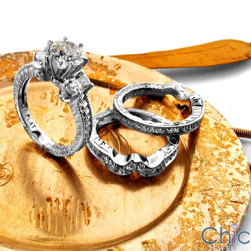 Matching Set 1 Ct Round Center Pave Engraved Double Cubic Zirconia Cz Ring
