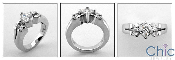 Engagement Princess .75 Center Channel Cubic Zirconia Cz Ring