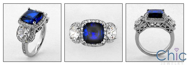 Anniversary 2 Ct Sapphire Cushion Halo Pave Cubic Zirconia Cz Ring
