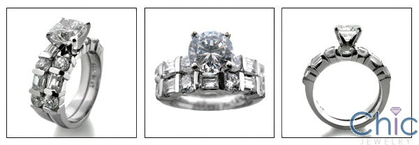 Matching Set 1 Ct Round 4 Prong Channel Set Wedding Cubic Zirconia Cz Ring