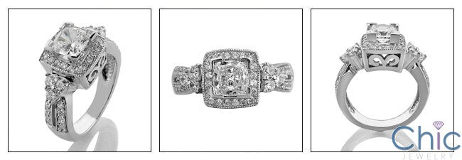 Anniversary Princess 0.75 Ct Halo Pave Cubic Zirconia Cz Ring