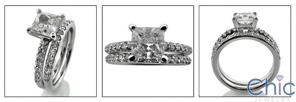 Cubic Zirconia Matching Engagement Ring Set 1 Ct Princess CZ Center with Prong Wedding Band 14K White Gold