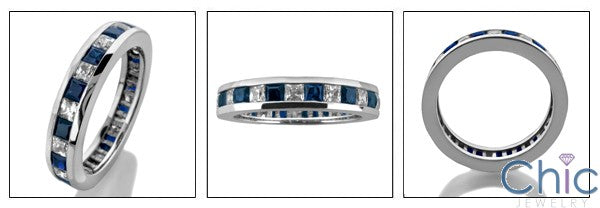 Eternity 2 Ct Sapphire Diamond Princess Channel Cubic Zirconia Cz Ring
