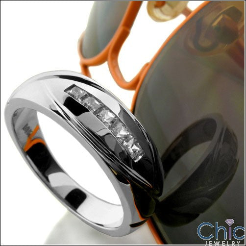 Mens .25 TCW Channel Princess Cubic Zirconia CZ Wedding Band