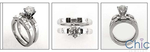 Matching Set Round Center Channel Baguettes Cubic Zirconia Cz Ring