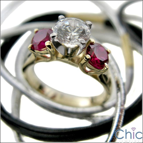 3 Stone Diamond Centrer Ruby All Round Cubic Zirconia Cz Ring