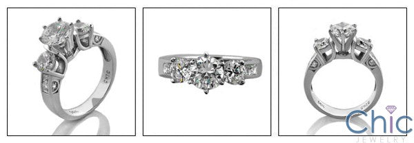 Engagement 1 Ct Round Center 1.78 TCW in Prong Channel Pave Cubic Zirconia Cz Ring