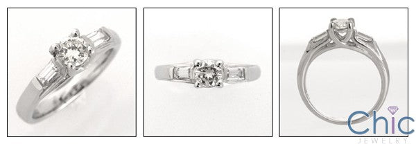 3 Stone Half Carat Round Cubic Zirconia Channel Baguettes Ring 14K White Gold