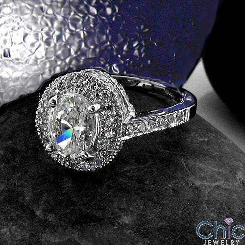 Estate 1.25 Oval Halo Ct Pave Cubic Zirconia Cz Ring