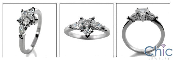 3 Stone Heart Shape Ct Pear Cubic Zirconia Cz Ring
