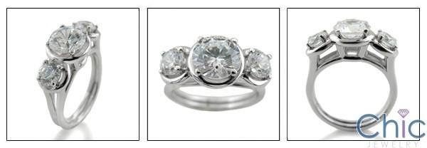 1.5 Round Cubic Zirconia Center .40 Sides Cz 3 Stone Ring 14k White Gold