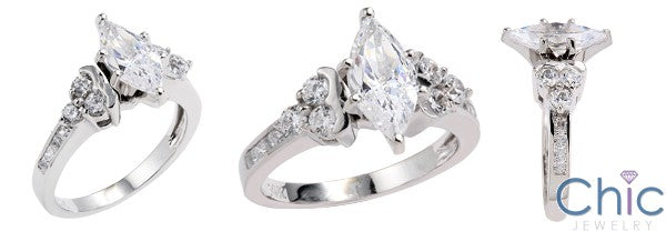 Engagement 1.5 Marquise Cubic  Zirconia Center Channel Set Sides 14k White Gold Cz Ring
