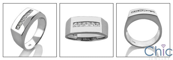 Mens .30 Princess in Channel 8.5MM Cubic Zirconia CZ Wedding Band