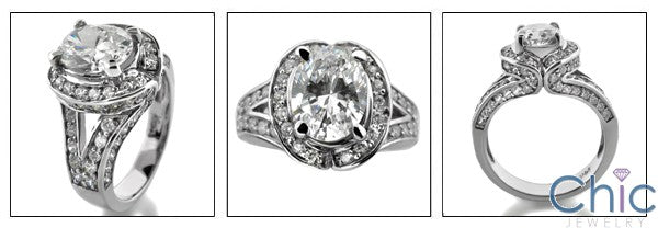 Estate 2.5 Oval Center Stone Paved Halo Cubic Zirconia Cz Ring