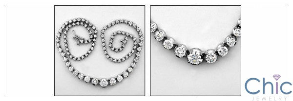 Cubic Zirconia Cz 17 Inch Round Stone Prong Set Necklace