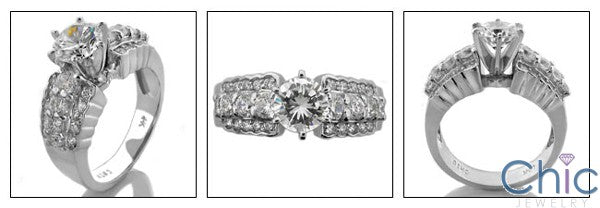 Engagement Round Brilliant 1 Ct Center Wide shank Cubic Zirconia Cz Ring