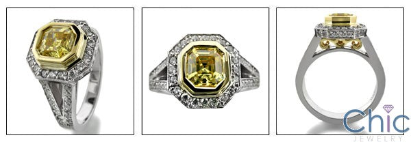 Estate 1 Ct Canary Asscher Yellow Bezel Pave Cubic Zirconia Cz Ring