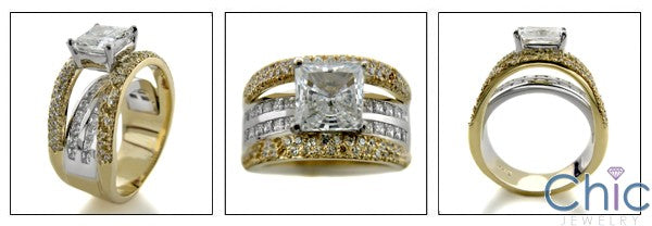 Cubic Zirocnia Engagement Ring Princess 1.5 Ct Center Two Tone 14K Gold Channel Pave Shank