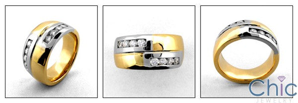Mens Two Tone 12mm Channel Set Cubic Zirconia CZ Wedding Band