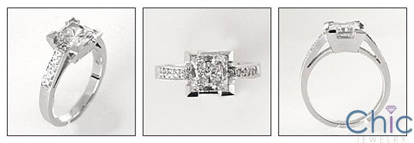 Engagement 1 Ct Princess Center Pave Cubic Zirconia Cz Ring