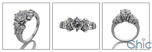 Engagement Round Baguette Combination Cubic Zirconia Cz Ring