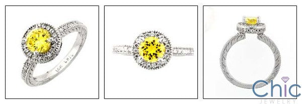 Engagement Canary Round In Halo Engraved shank Cubic Zirconia Cz Ring