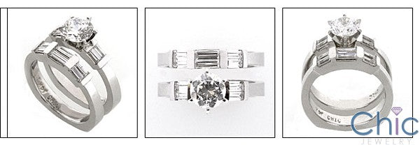 Matching Set Round Brilliant Channel Baguettes Euro Shank Cubic Zirconia Cz Ring