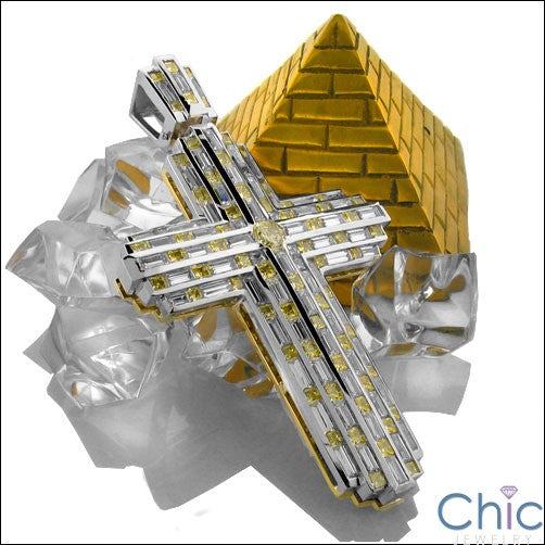 Two Tone Gold Cross Canary Ct Diamond Color CZs