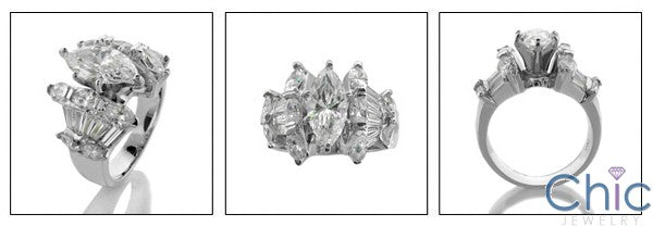 Marquise 2 Carat Cubic Zirconia Center Channel Baguettes on the Sides 14K White Giold Ring