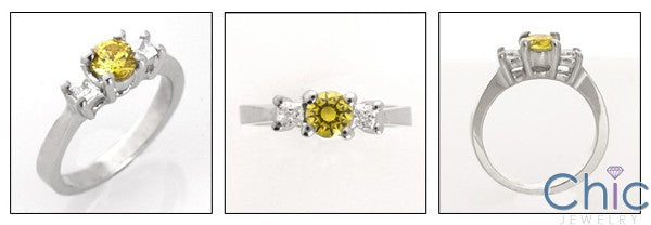 3 Stone Yellow Round Half Carat Princess Cubic Zirconia Ring 14K White Gold