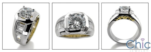 Anniversary 2 Ct Round Center Channel Baguettes Cubic Zirconia Cz Ring