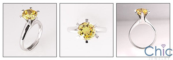 Solitaire 2.25 Canary Yellow Round 6 Prong Cubic Zirconia 14K White Ring