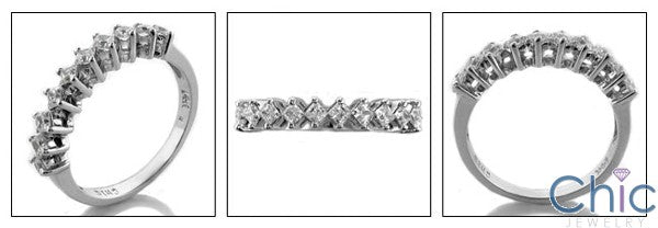 Wedding .50 Princess in share Prong Cubic Zirconia CZ Band
