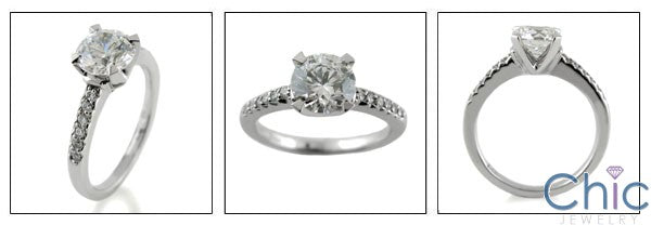 Engagement 1.25 Round Pave Cubic Zirconia Cz Ring