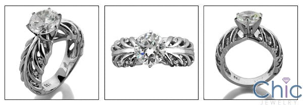 Engagement 2 Ct Round 6 Prong Center Branchandstyle Cubic Zirconia Cz Ring