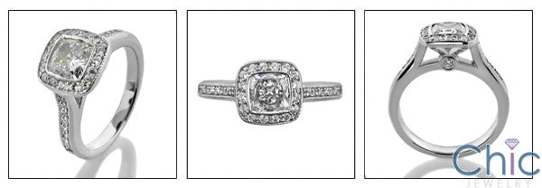Engagement .50 Cushion Cubic Zirconia Bezel Ct Pave Cubic Zirconia Cz Ring