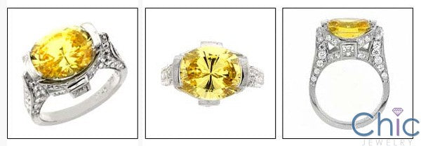 Estate Canary 5 Ct Oval Tall Cubic Zirconia Cz Ring