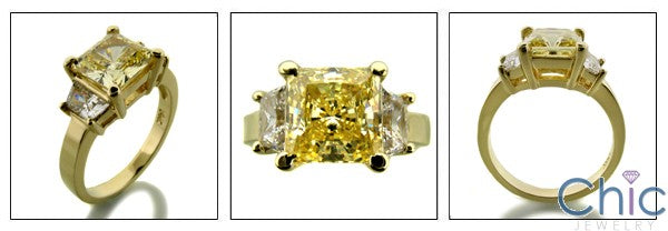 3 Stone Canary Princess 2 Ct Ct Trapezoids Cubic Zirconia Cz Ring
