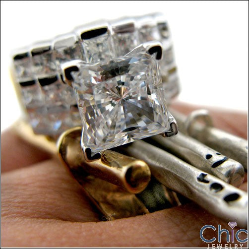 2 Ct Princess Cubic Zirconia Center Engagement Ring 14K White Gold Wide Shank with Channel Sides