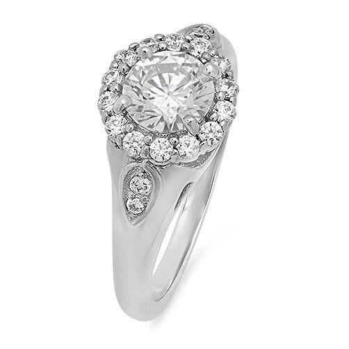1 Carat Round High Quality Cubic Zirconia in Halo 14k White Gold