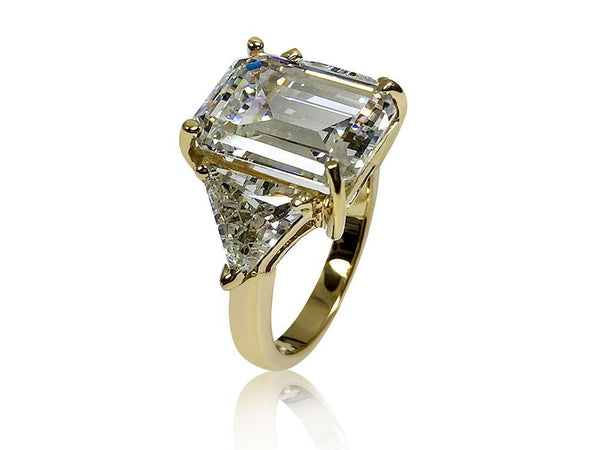 7 Carat Emerald cut Highest Quality Cubic Zirconia 3 stone ring with trillion 14K Yellow Gold