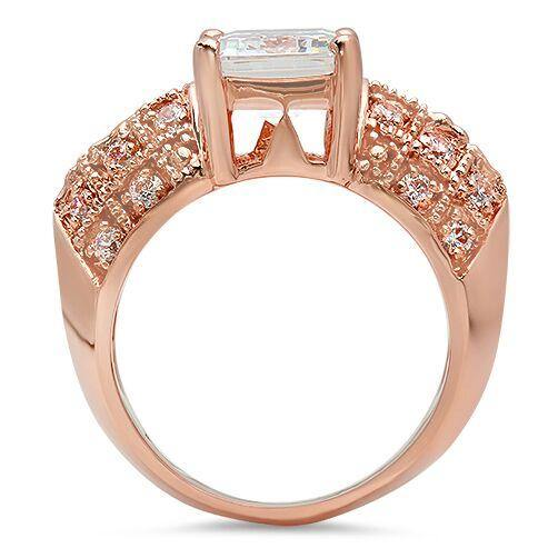 10 BY 8mm emerald cut 4 carat Cubic Zirconia Rose Gold Ring